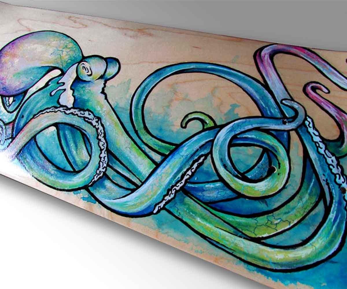 Octopus Art Skateboard Decor Surf Art Nautical Decor