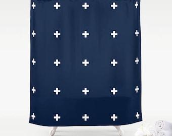 Premium Smooth FABRIC SHOWER CURTAIN Dark Navy Blue White Swiss Crosses Nautical Neutral Minimalist Contemporary . Machine Wash Tumble Dry