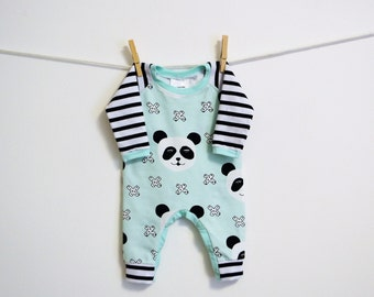 NB Lt Green Panda and Black/White Stripe Romper.  Panda Romper,  Babies Outfit, Hospital Outfit, CPS Compliant, made by The Corduroy Hippo