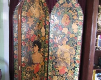 Rare Victorian Four Fold Decoupage Screen, Ladies and Flowers