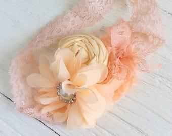 Baby headband peach headband toddler headband flower girl headband Matilda jane m2m headband whimsical headband well dressed wolf m2m