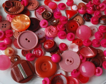 150 Red  Vintage Mixed Buttons