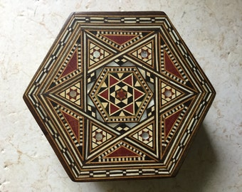 Vintage Octagon Inlaid Star Jewelry Box / Trinket Box / Keepsake Box