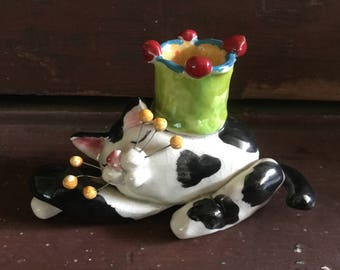 Half Price Sale. Vintage Ceramic Cat Figurine signed LaCombe 97