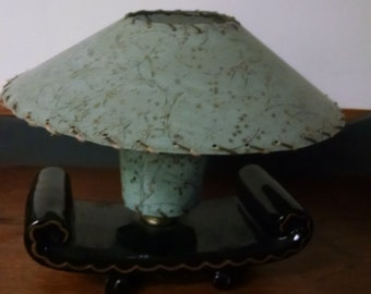 Vintage Mid Century TV Lamp Aqua Shade Black Gold Trim Asian