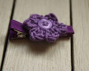 Crochet Flower Alligator Hair Clip in Plum