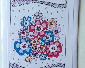 Hearts & Flowers - A5 Blank Greetings Card From Original Drawing