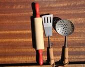 3 piece Childs Cooking Utensil Set - Childs Kitchen Set - Chidrens Wood Handle Utensils - Vintage Child Size Utensils - Cooking Play