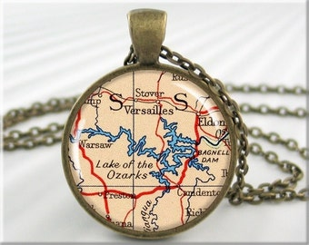Lake Ozarks Map Pendant, Resin Charm, Lake of the Ozarks, Map Necklace Jewelry, Gift Under 20, Round Bronze (746RB)