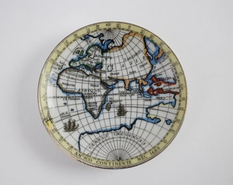 Vintage Old World Map Trinket Dish - Small Ceramic Collectible Globe Plate