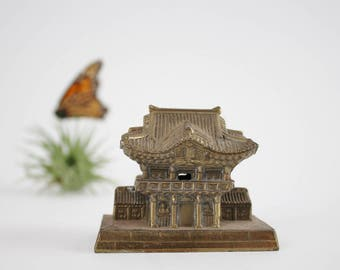 Solid Brass Pagoda Temple - Feng Shui Asian Temple Figurine