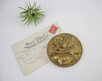 Vintage Solid Brass Rose Paperweight - Office Desk Accessory Decoration