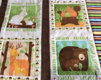 Woodland Animals with Babies Gender Neutral Baby Quilt, Newborn Blanket, Toddler Nap Blanket, Nursery Room Decor