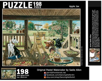 198 piece PUZZLE from the watercolor pastel Apple Jax