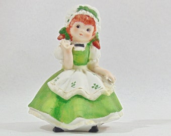 1970s, Lefton, Lefton China, Lefton Figurine, St Patricks Day, Vintage Figurines, Ceramic Figurine, Ceramic Figure, Lefton Girl, Shamrock
