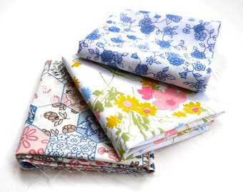 Vintage Fabric Fat Quarters, Pack Of 3, Floral Design, Sewing Supplies