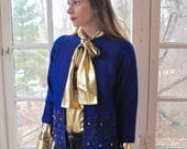 WELCOME SPRING SALE Bold Royal Blue Wool Beaded Cardigan/Vintage 1950s 1960s/Made in Hong Kong/Chanel Style Knit Jacket/Formal Iridescent