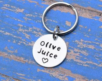 Olive juice keychain, I love you key chain with heart, boyfriend girlfriend keychain, olive juice i love you, valentines gift for him