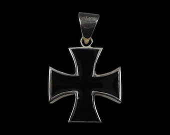 Solid 92.5% Sterling Silver Iron Cross Biker Pendant with Black Enamel - Free Shipping