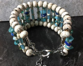 WATERY WRIST CANDY...beachy..funky..safty pins..glass beads..bohemian