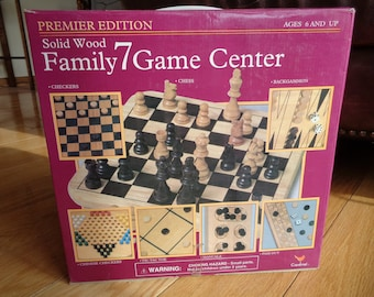 Vintage 1995 Family Game Center Board Games Package which include two (2) solid wood boards and playing pieces in the original box package