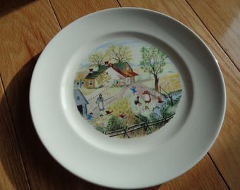 HOLY GRANDMA MOSES, Delightful Decorative Wall Plate for display on your wall with wonderful crackled patina on A White Glazed Ceramic plate
