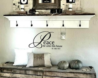 FAMILY Wall Quotes Decal - Peace be unto this house St. Luke 10:5-  Scripture - Vinyl Wall Art - Wall sayings