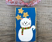 Christmas Cat Wood Ornament, Painted White Cat, Handmade Christmas Tree Decoration, Cat Ornament, Holiday Ornament, Ornament for Cat Lovers