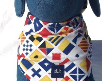 Nauatical  Flags Bandana for Dogs Small to Large