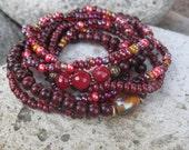 Bohemian Gypsy Stacker Set of 8 Stretch Bracelets - Red Boho Stacker Set of Stretch Bracelets