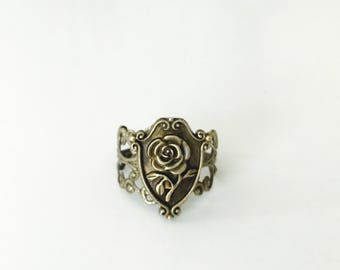 Enchanted Rose ring, Beauty and the Beast, adjustable ring, brass filigree