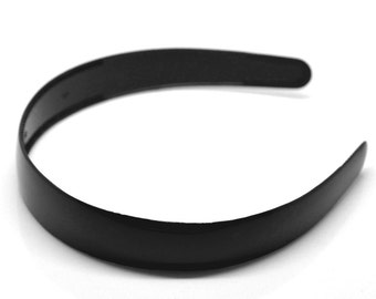 "3 Black Headbands - Cloth Covered Plastic -  380x25mm - 15"" x 1"" -  Ships IMMEDIATELY  from California - HF58"