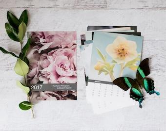 5x7 2017 Calendar, Rustic Flower Calendar, Floral Photography Calendar, Shabby Chic Desk Calendar 4x6, Nature Calendar, Gift for Gardener