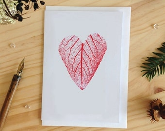 Leaf Heart Greeting Card, Love Card, Blank Greeting Card, Valentines Day Card, Love You Card, Leaf Print, Nature Print