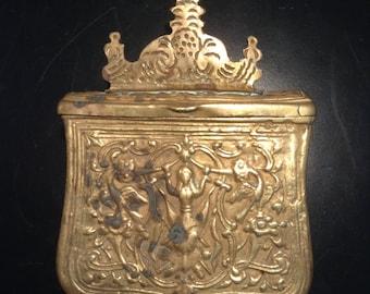 Antique Islamic brass travel Koran box Quran holder