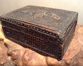 Antique hammered copper overlay box embossed copper box