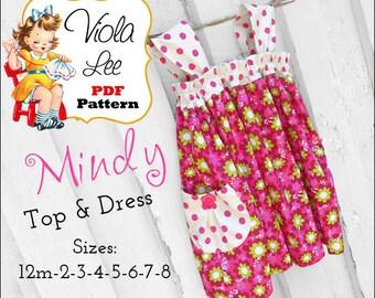 Mindy Girls Dresses, Girls Sewing Pattern. Girls Dress Pattern. Girls pdf Top Pattern, Toddler Summer Dress Pattern, Toddler Sewing Pattern