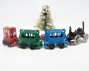 Vintage Toy Railway Train Set,  4 Pieces for Christmas