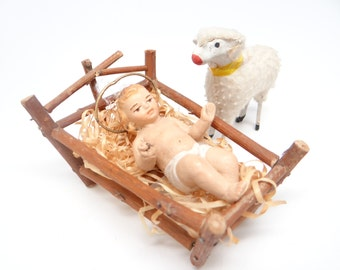 Antique Baby Jesus in Manger for Christmas Putz or Nativity, Hand Painted Bisque