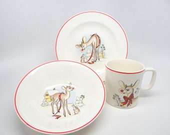 1940's Rudolph the Red Nosed Reindeer  RLM 3 Piece Set, Mug, Bowl & Plate, Vintage Childs China in Original Box