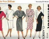 ON SALE NOW Pattern Butterick 3460 Dress or loose pullover top diagonal inset colour blocking kimono sleeves elastic waist skirt Size 8-10-1