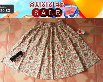 Clearance SALE Rose Floral Skirt - Summer Garden Beach Time Skirt - Midi Skirt Mid Skirt - Floral Skirt - Kitsch Skirt - Dancing Skirt- W...