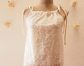 Summer SALE White Lace Top Piece Bikini Best friend White Cami Beach Clothing Summer Sea Lace See Through Cute Blouse