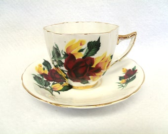 Royal Prince Bone China Tea Cup and Saucer, Red and Yellow Roses, Gold Trim