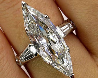 1930..Vintage Estate 3.05ct Classic Old Marquise Cut EGL USA Diamond Engagement PLATINUM Ring