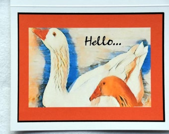 Painted Geese Saying Hello - Notecards