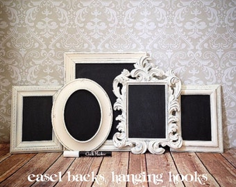 White Vintage Style FRAMED CHALKBOARDs - Chalk Ink Pen - picture frames - shabby chic wedding - reception home sign