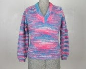 Vintage 1960s Sweater 60s Pink and Blue Mohair Sweater by Darlene Size L