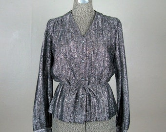 ON SALE // Vintage 1970s Blouse 70s Silver and Black Metallic Lurex Top by Teddi Size M