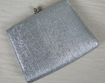 Vintage 1950s Silver Metallic Lame Evening Clutch 50s Silver Purse